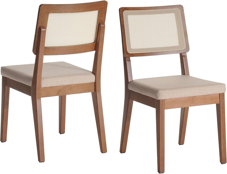 Manhattan Comfort Pell Modern Upholstered Dining Chair, Beige/Maple Cream