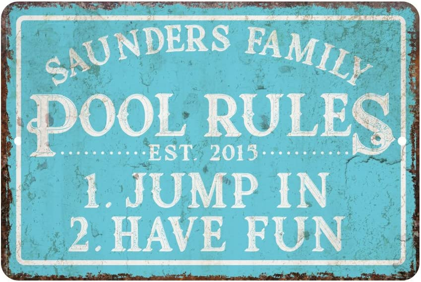 Pattern Pop Personalized Vintage Distressed Look Pool Rules Metal Room Sign