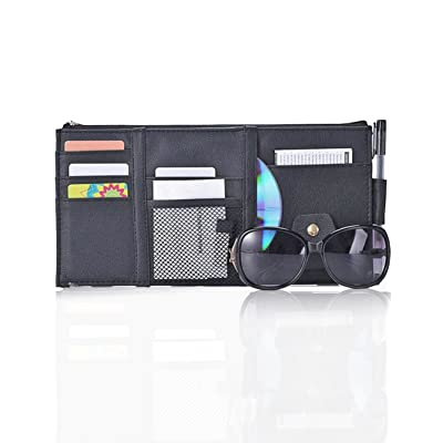 Multifunctional Leather Car Sun Visor Organizer with Zipper Sunglasses Clip Pen CD Card Cell Phone Holder Storage Pouch, Black: Electronics [5Bkhe1508095]