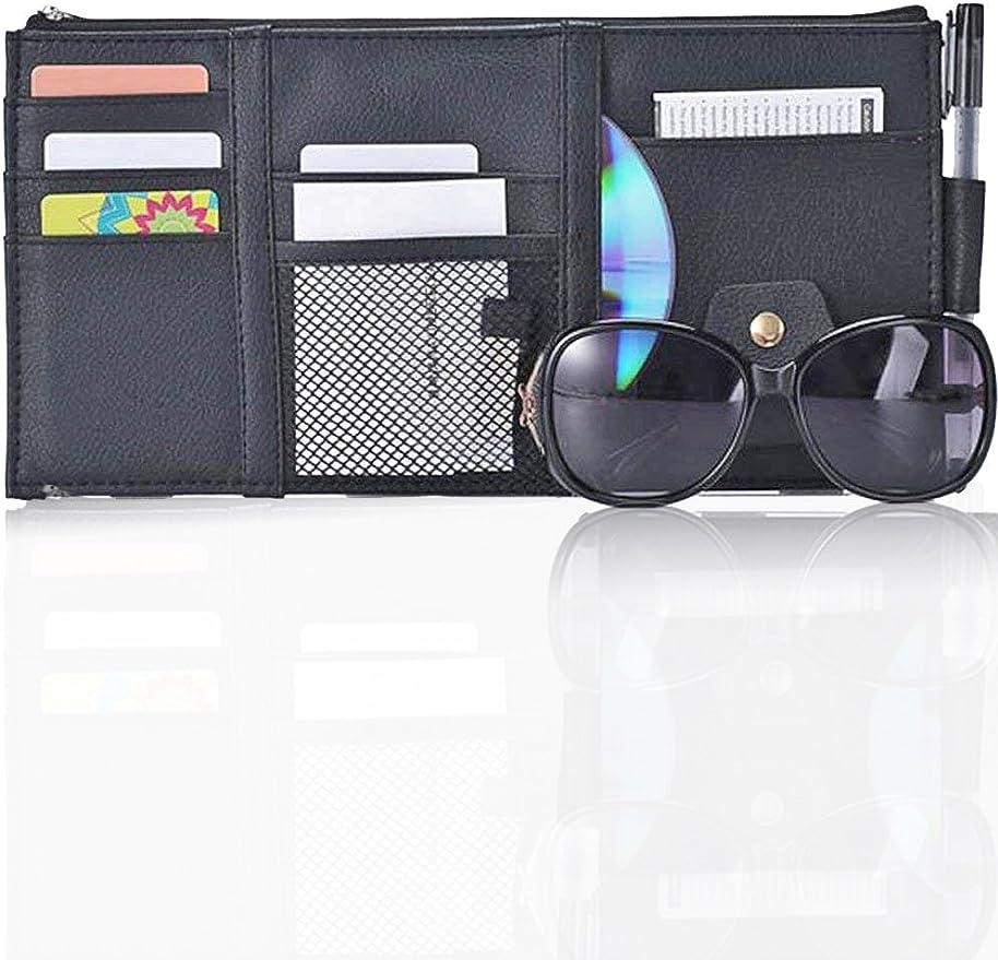 LAANCOO Ultimate Car Sun Visor Organizer Car Truck SUV Storage Bag Auto Interior Accessories Pocket Organizer Registration Document Holder Auto Pouch Organizer for Sunglasses CD Card Cellphone Pen