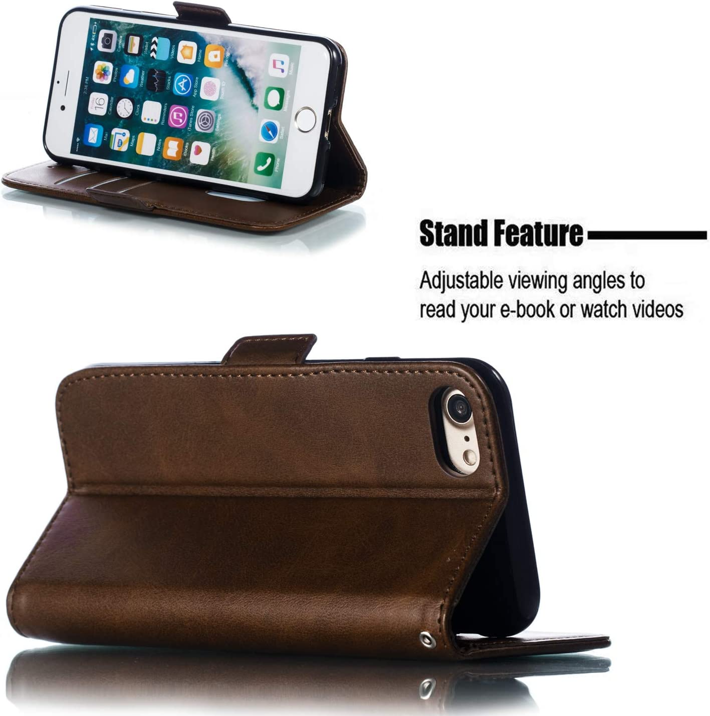 iPhone8 Shockproof Flip Case Cover for Apple iPhone7 iPhone 7 with Stand Feature Card Holder Magnetic Closure Lomogo Leather Wallet Case for iPhone 8 LOYTE010025 Yellow