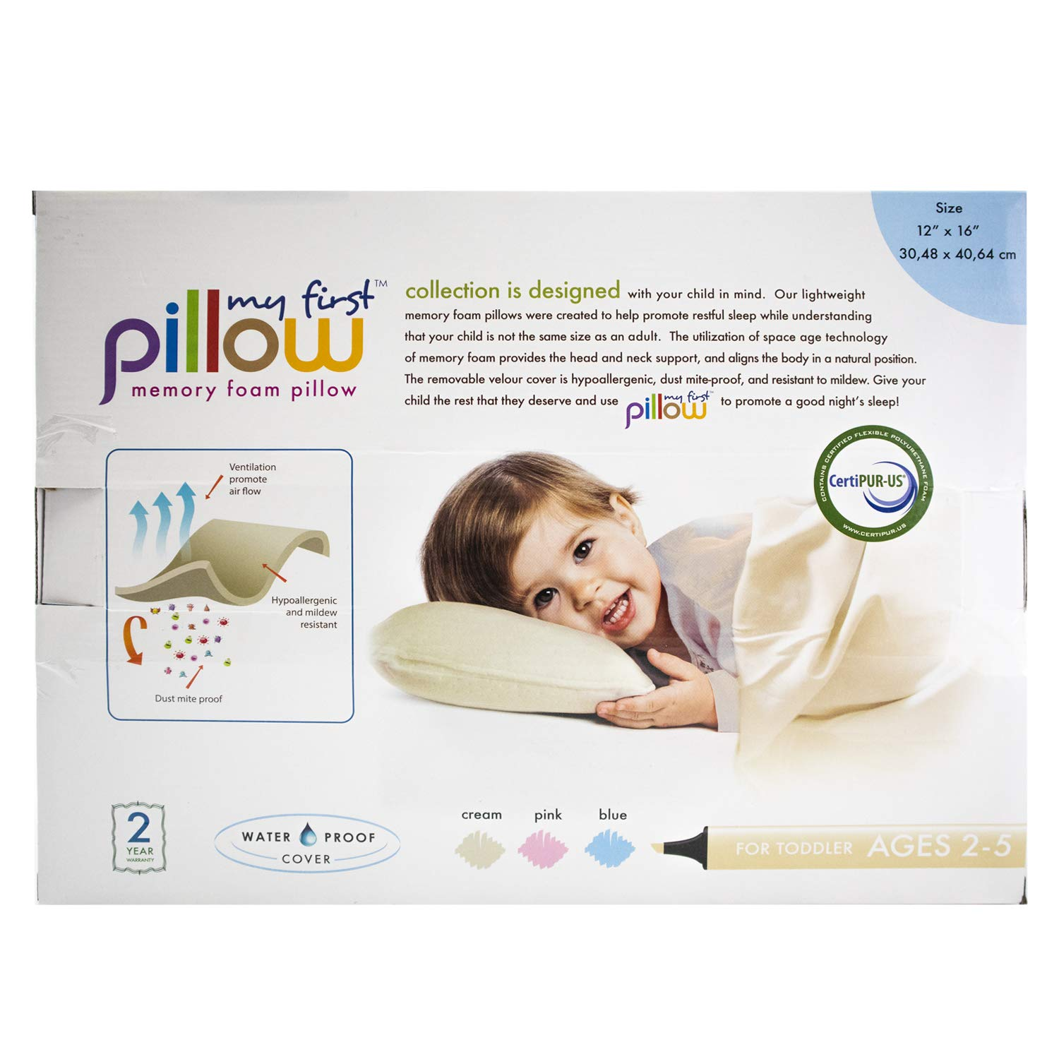 12x16 My First Pillow Memory Foam Pillow Water Proof Bonus Pillow Case Included Cream