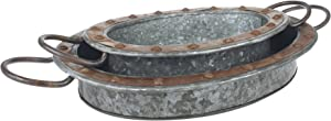 Stonebriar Oval Galvanized Metal Serving Tray Set with Rust Trim and Sturdy Metal Handles, Industrial Butler Tray, Unique Coffee Table Centerpiece, or Desk Organizer for Documents