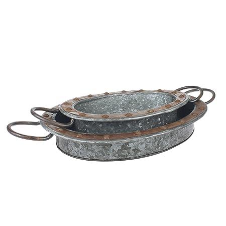 Stonebriar Oval bandeja para servir de Metal galvanizado con ...