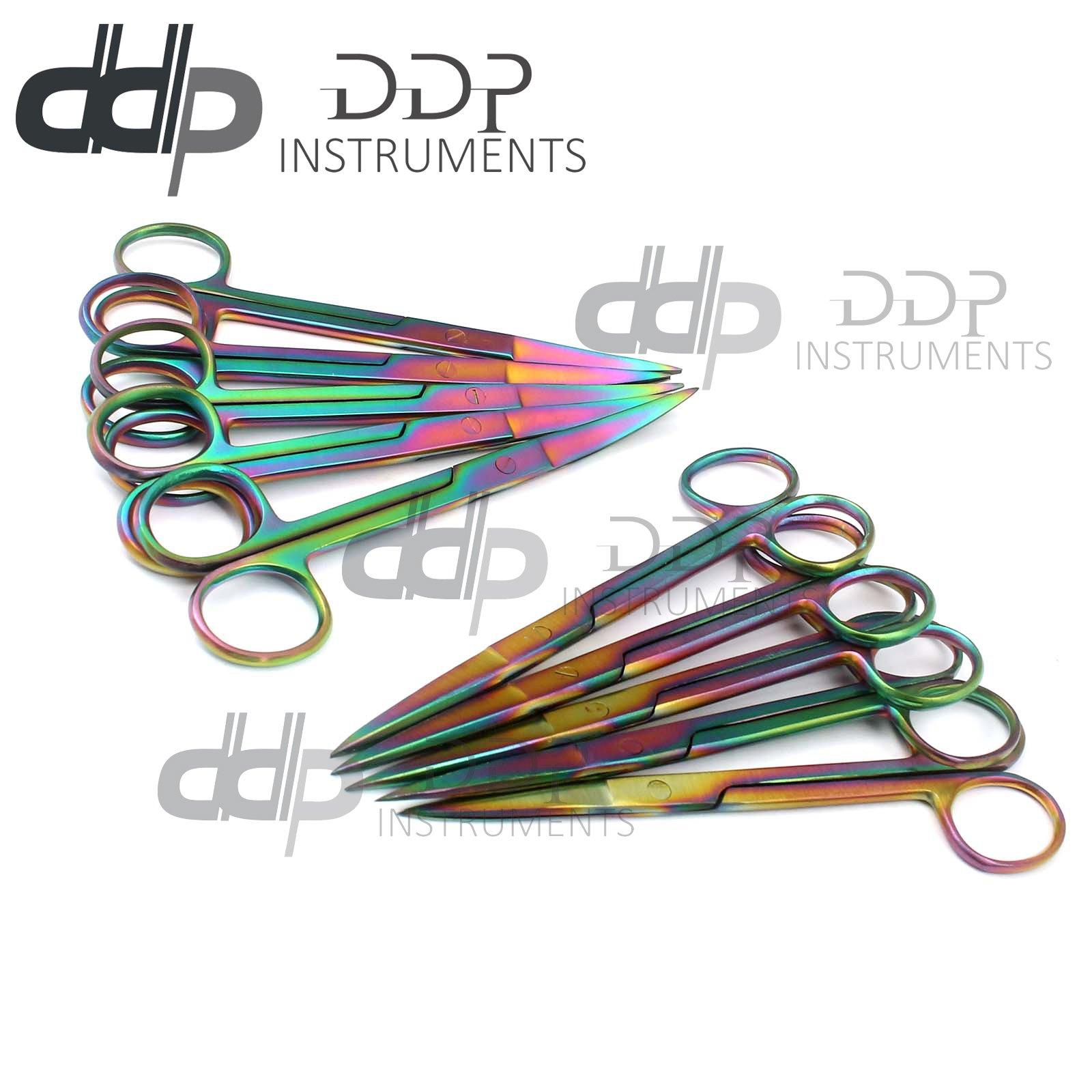 DDP Set of 12 Multi Titanium Color Rainbow Operating Scissor Sharp/Sharp 5.5'' Straight & Curved Stainless Steel