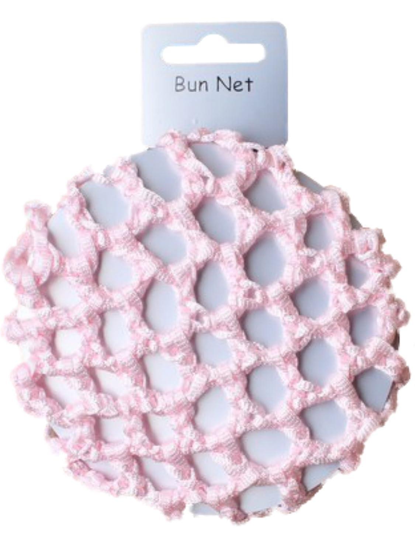 Girls Pink Knotted Ribbon Bun Hair Net - Dancewear Ballet Bridal Accessories by Pritties Accessories PRH09003