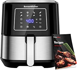 Bonsenkitchen 6-Quart Air Fryer, Stainless Steel Air Fryers Toaster Oilless Cooker with 7 Presets, Precise Temperature Control for Roasting / Baking/ Cooking/ Frying, with Recipes Book, BPA-Free, 1700W