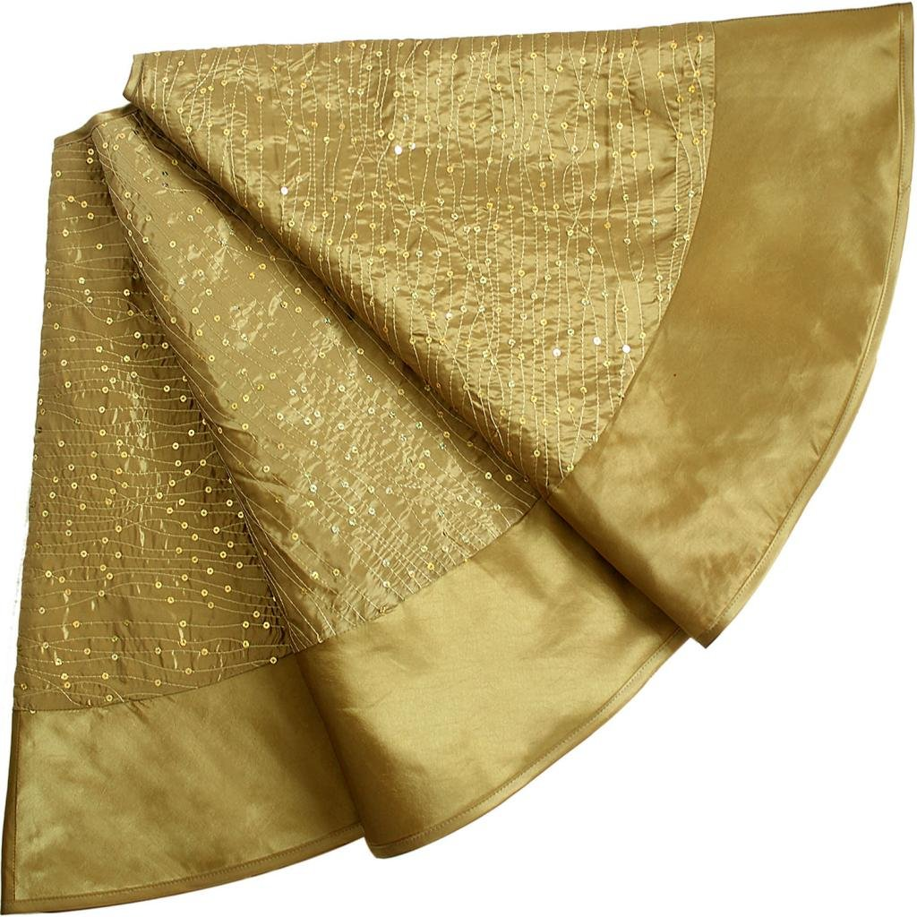 Extra Large Gold Christmas Tree Skirt - Glitter Sequin Faux Silk Border