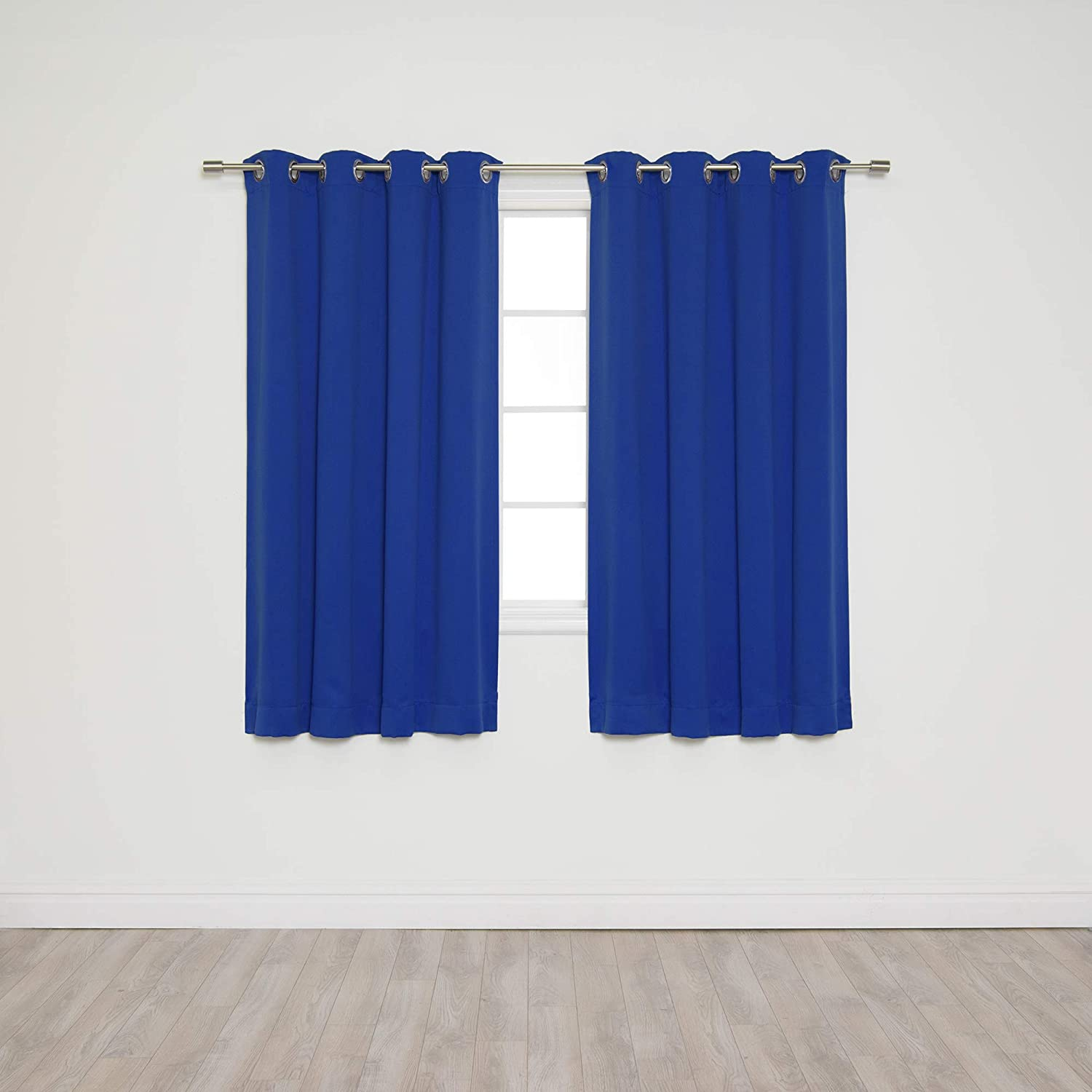 "Best Home Fashion Blackout Curtain Panels - Premium Thermal Insulated Window Treatment Blackout Drapes for Bedroom - Silver Stainless Steel Grommet Top – Royal Blue - 52"" W x 63"" L - (Set of 2 Panels)"