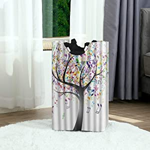 DAOPUDA Laundry Bag Multi Color Music Note Tree Creative Large Laundry Hamper Bags for Heavy-Duty Use with Strap,Standing Clothes Basket Collapsible for Dorm Travel Bathroom
