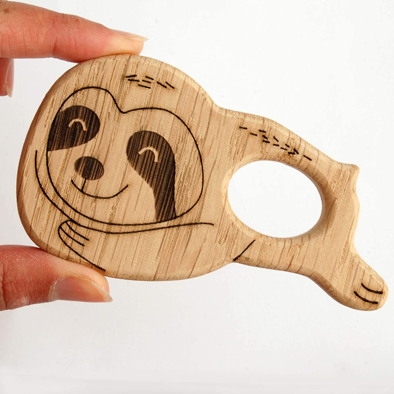 Sloth Wooden Teether Toy for Baby Teething Ring