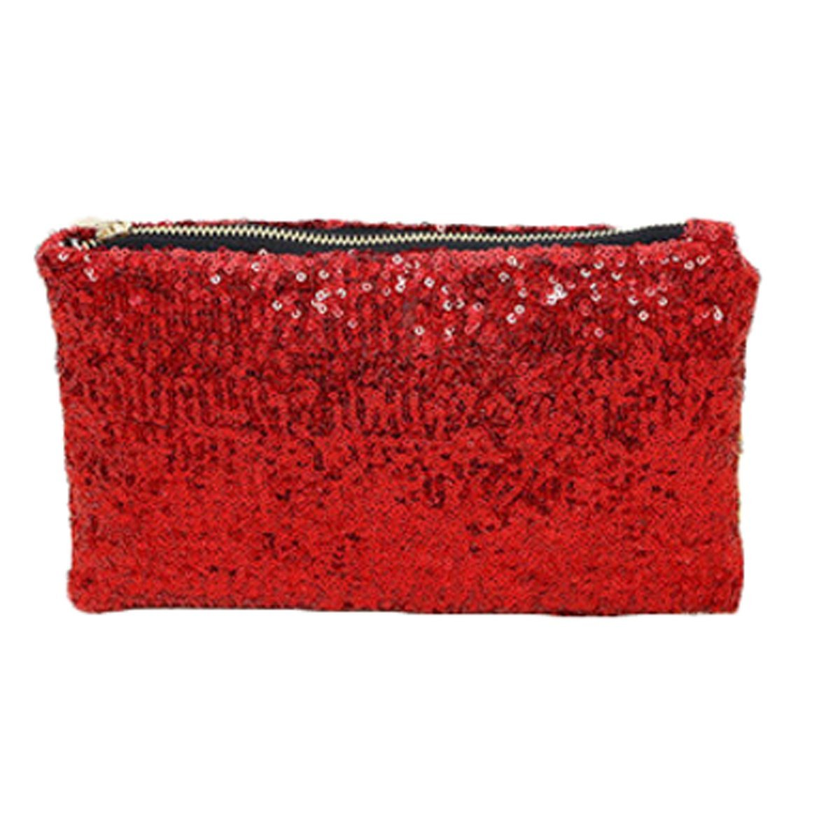 Women Fashion Sequins Shiny Cosmetic Pouch Bag Wallet Card Coin Phone Holder Handbags (Purple)