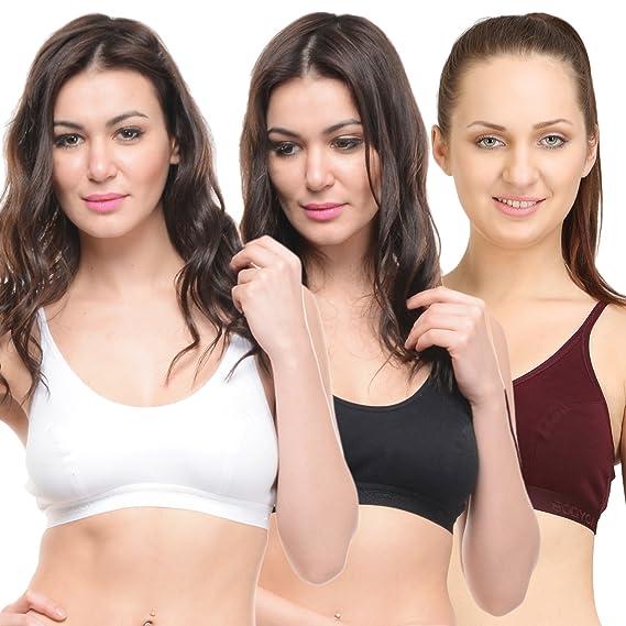 f67dd8bffcb81 BODYCARE Pack of 3 Sports Bra in Brown-Black-White Color - E1608WIBW   Amazon.in  Clothing   Accessories