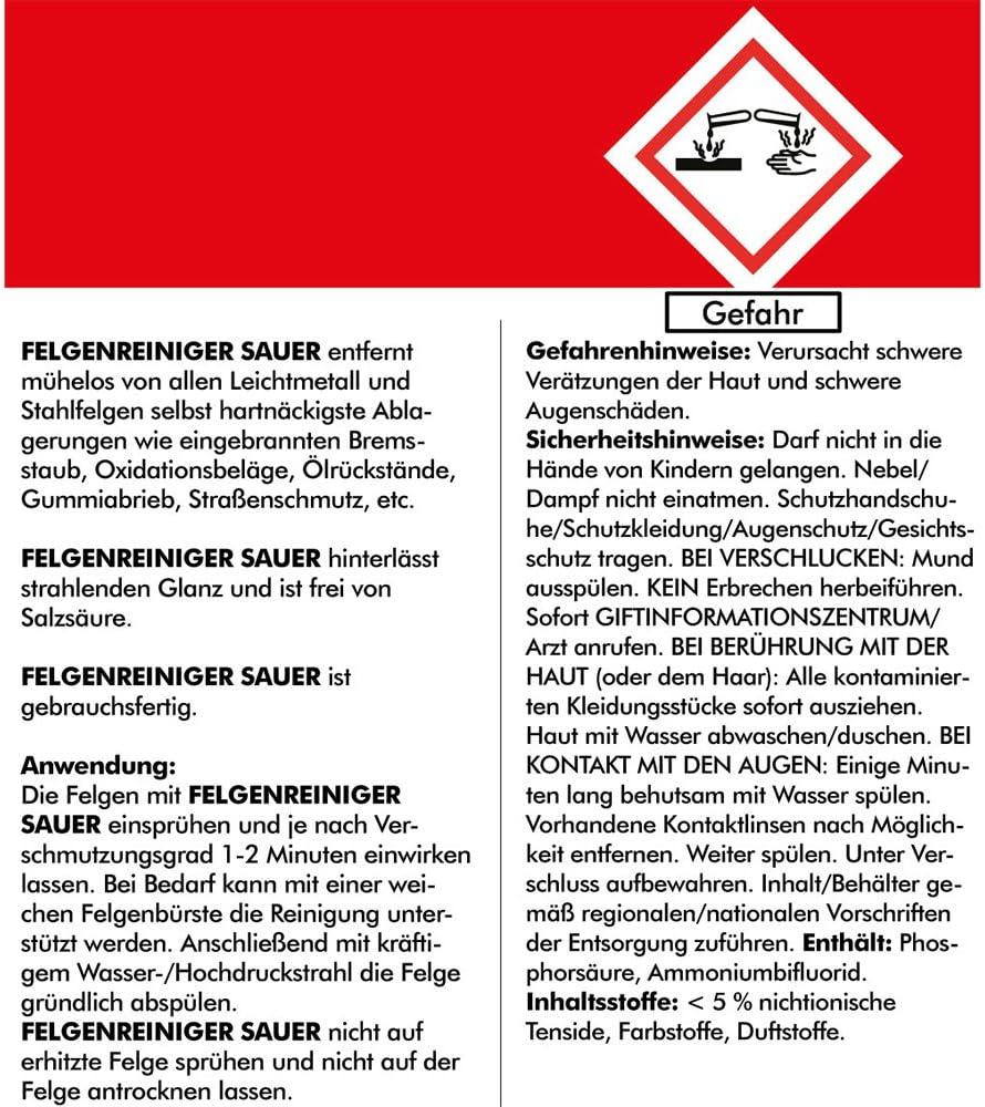 Brestol Felgenreiniger Sauer 2x 750 Ml Gebrauchsfertig Für Alufelgen Stahlfelgen Autofelgen Auto