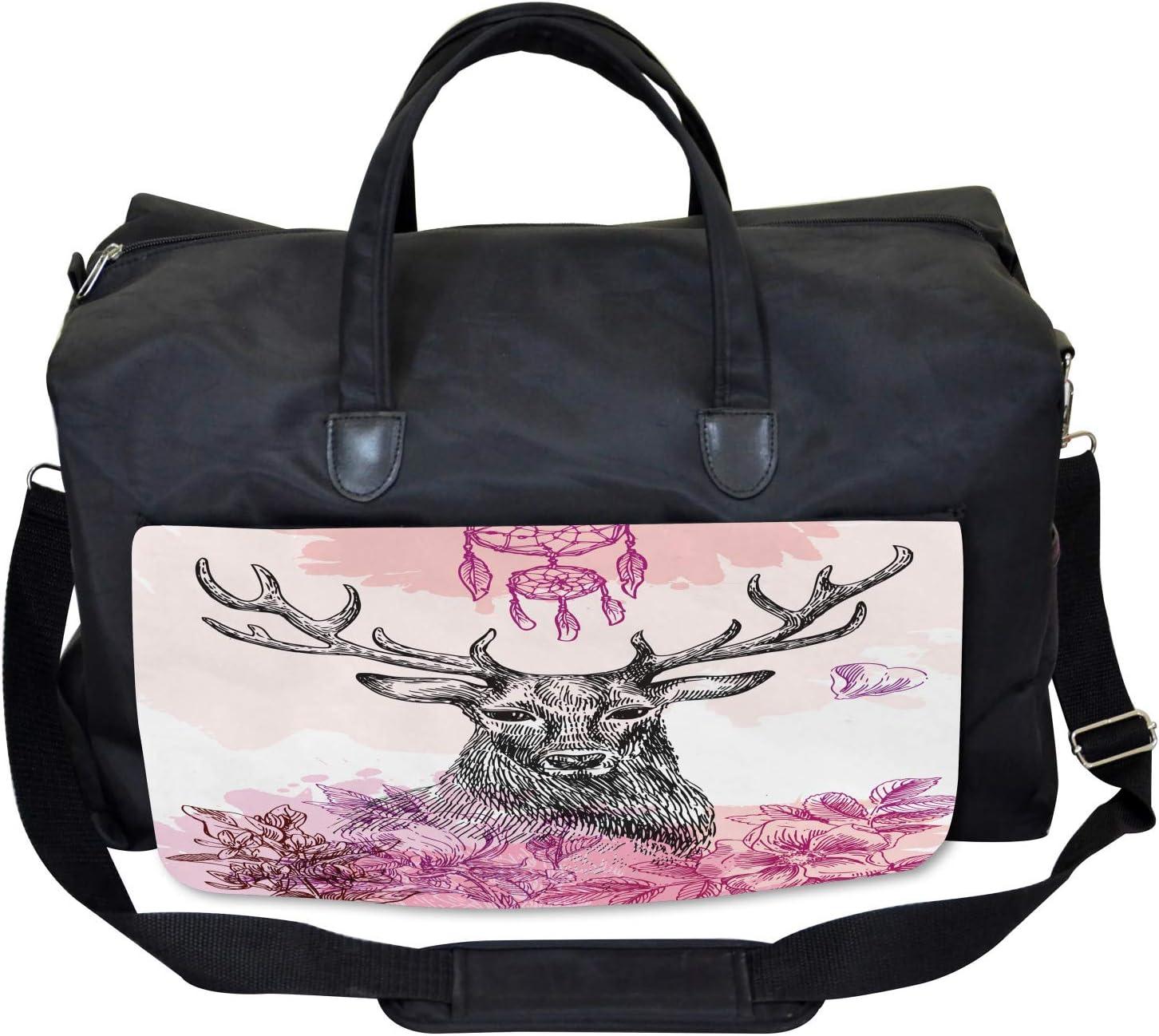 Large Weekender Carry-on Flower Leaves Hand Drawn Ambesonne Tribal Gym Bag