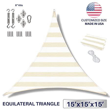 Windscreen4less 15 x 15 x 15 Equilateral Triangle Sun Shade Sail with 6 inch Hardware Kit – Wide Beige White Stripes Durable UV Shelter Canopy for Patio Outdoor Backyard – Custom