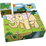 Rolimate Educational Preschool Wooden Cube Block Jigsaw Travel Puzzle - Lion Zebra Elephant Rhinoceros Tiger Rabbit, Christmas Gift Toy for age 3 4 5 Year Old and Up Toddler Kid Baby Children Boy Girl