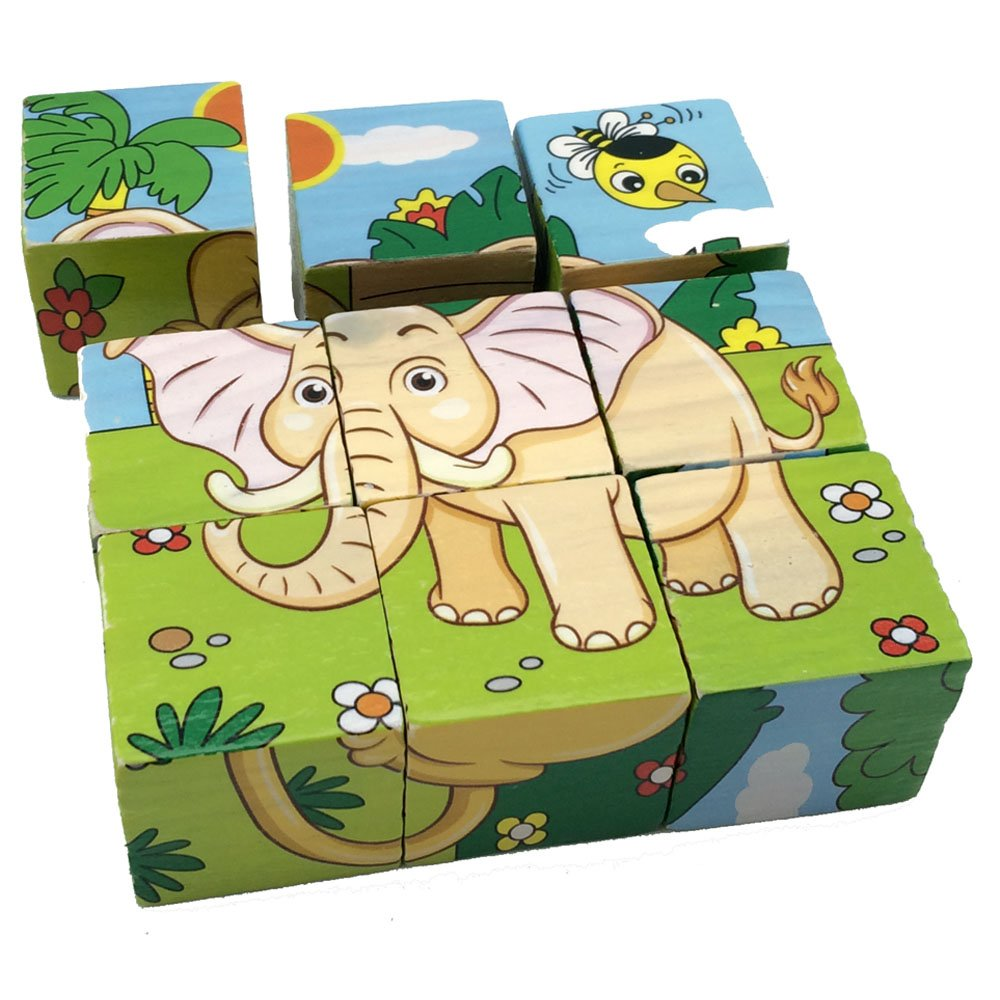 Rolimate Educational Preschool Wooden Cube Block Jigsaw Puzzles - Lion Zebra Elephant Rhinoceros Tiger Rabbit, Christmas gift toy for age 3 4 5 Years Old and Up Toddlers Kids Baby Children Boys Girls E-W