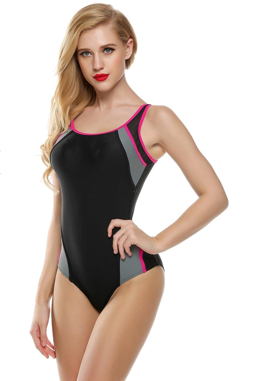 3374516c52ef2 Ekouaer Swimsuit Women's Backless Splice One Piece Swimwear Bathing Suit S- XXL - Black -: Amazon.co.uk: Clothing