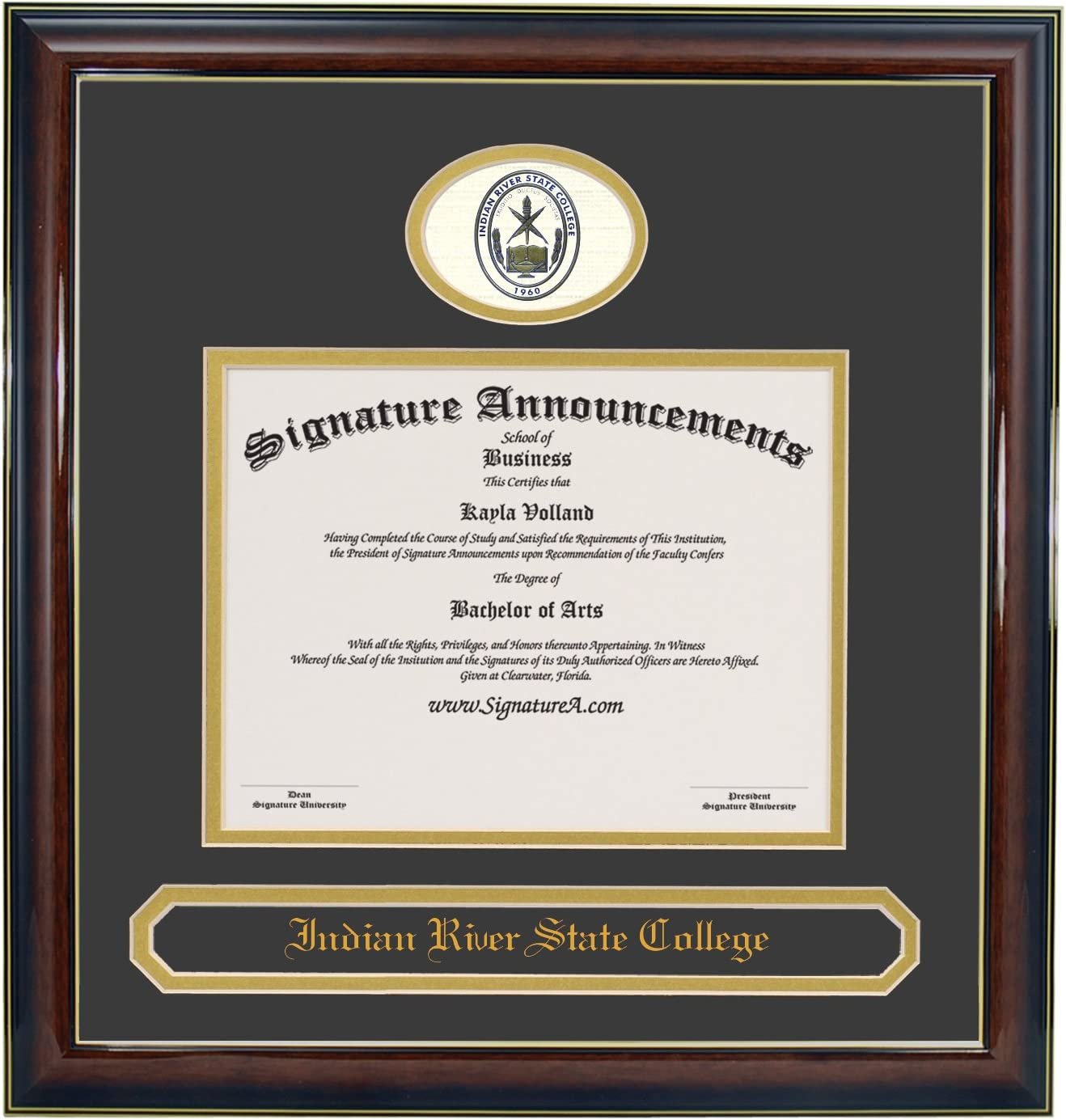 Sculpted Foil Seal Graduation Diploma Frame 16 x 16 Gold Accent Gloss Mahogany Signature Announcements Indian-River-State-College Undergraduate