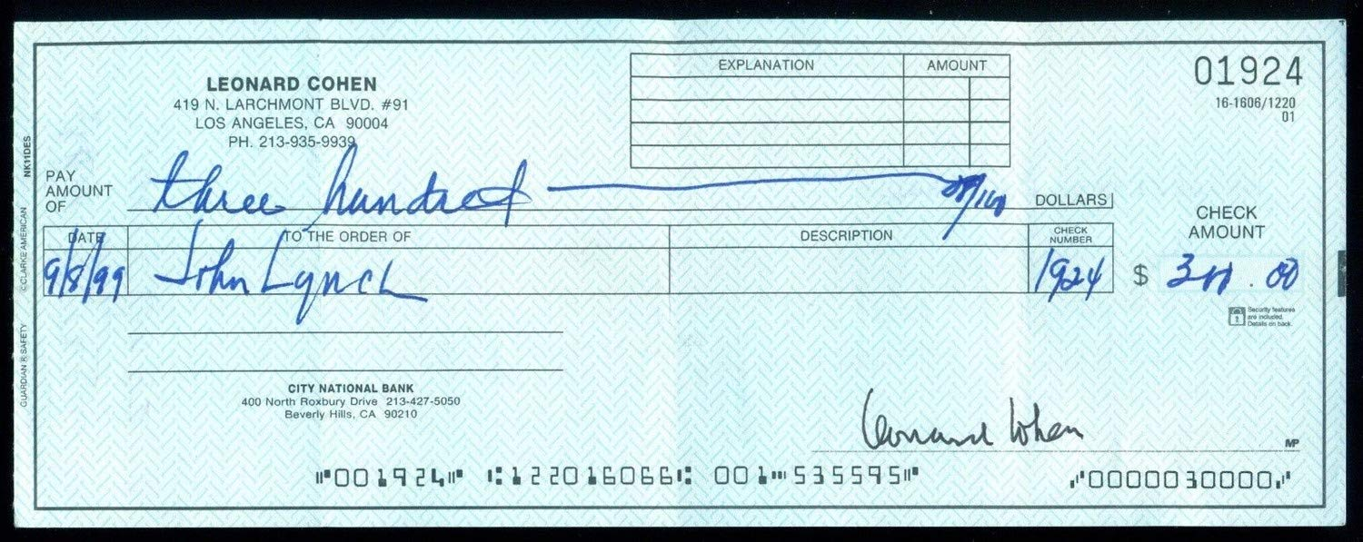 Leonard Cohen Autographed Signed On Personal Check Beckett Authentic 100% Authentic