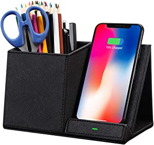 COSOOS Fast Wireless Charger with Desk Organizer, Qi Desk Phone Charger Compatible with iPhone 11/11 Pro/11 Pro Max/XS MAX/XR/XS/8Plus, Galaxy S20/S20+/S10/Note 10/Note 9/(No AC Adapter)