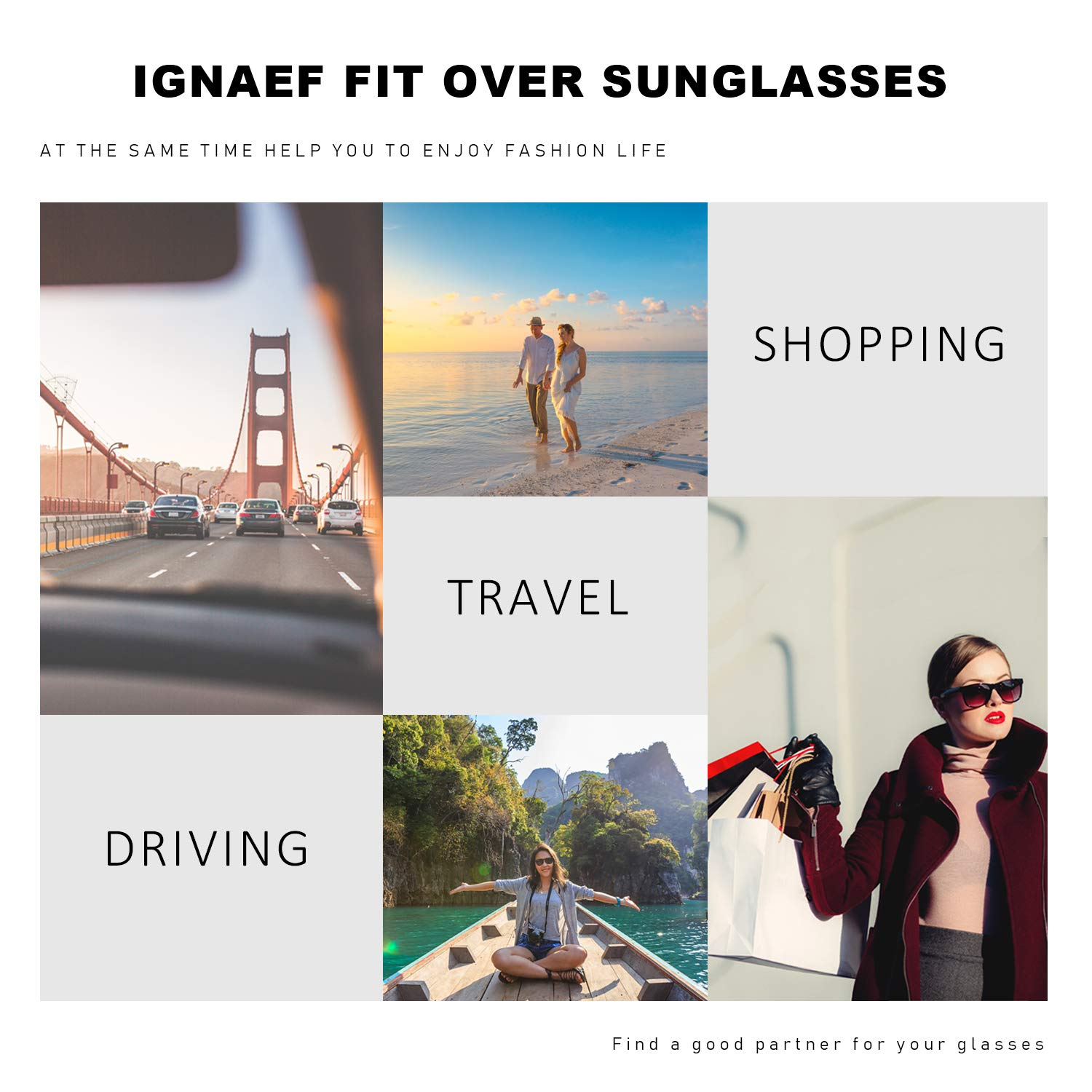 ffc2b570a1c5 Amazon.com: IGnaef Wrap Around Driving HD Polarized Glasses, Fit Over  Rectangular Glasses for,with Clip Holder. (black): Clothing