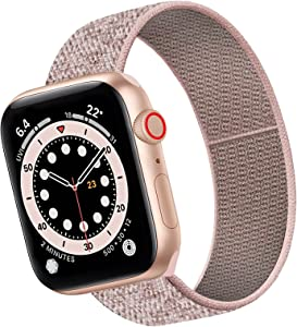 AFERIY Stretchy Nylon Sport Loop Watch Bands Compatible with Apple Watch 38mm 40mm 42mm 44mm, Adjustable Elastic Braided Stretches Wristband for iWatch SE Series 6/5/4/3/2/1 Men Women