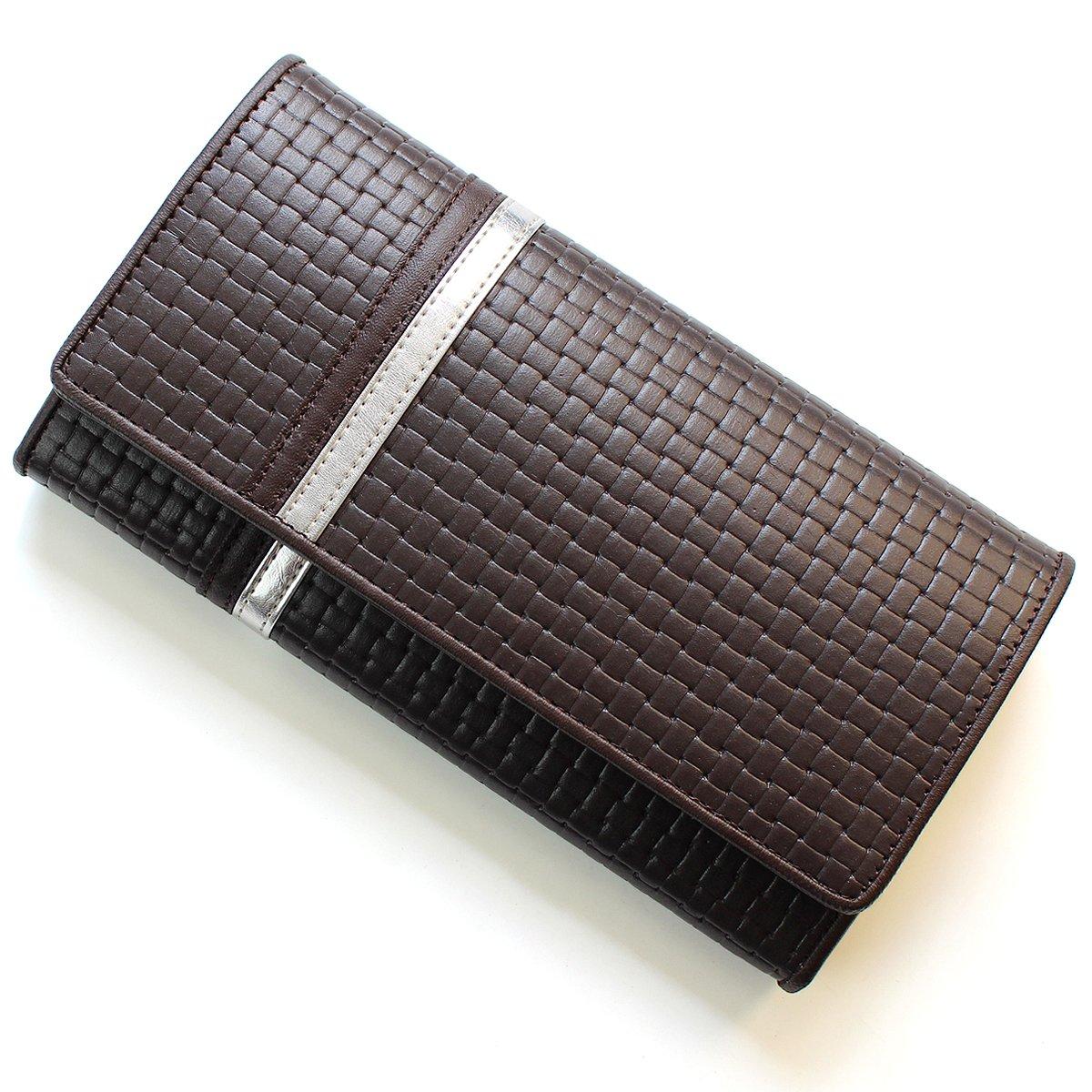 [ディアブロ] DIABLO 長財布 大容量 型押し ライン 折り 【KA-1169】 B004C8SKQM ブラウン×メタリックシルバー ブラウン×メタリックシルバー