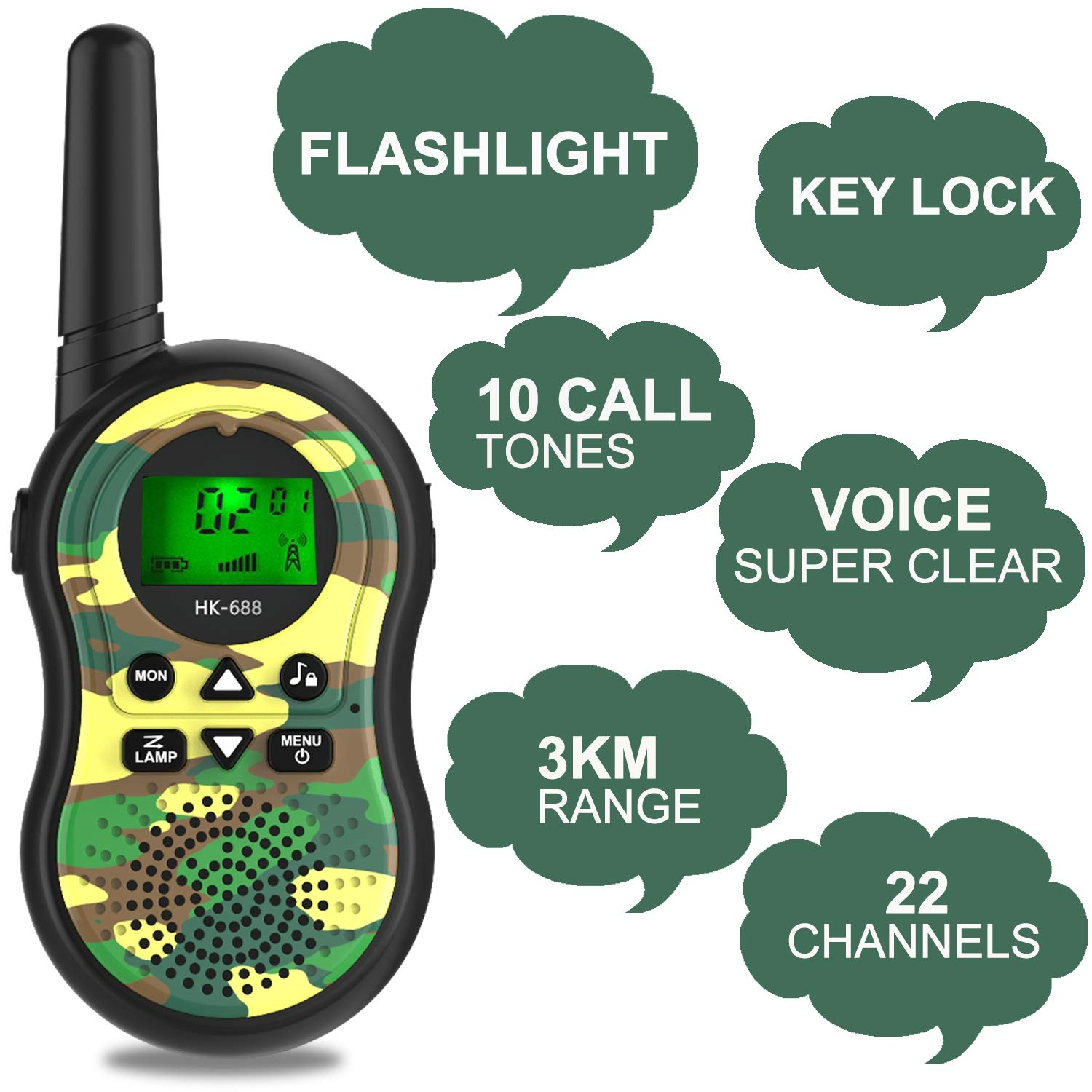 GreaSmart Kids Walkie Talkies,6 Pack 22 Channels Two Way Radio Long Range Kids Toys & Handheld Walkie Talkie with LCD Flashlight Best Gifts for Boy Girls Family Back to Shool Game Outdoor Adventures by GreaSmart (Image #4)