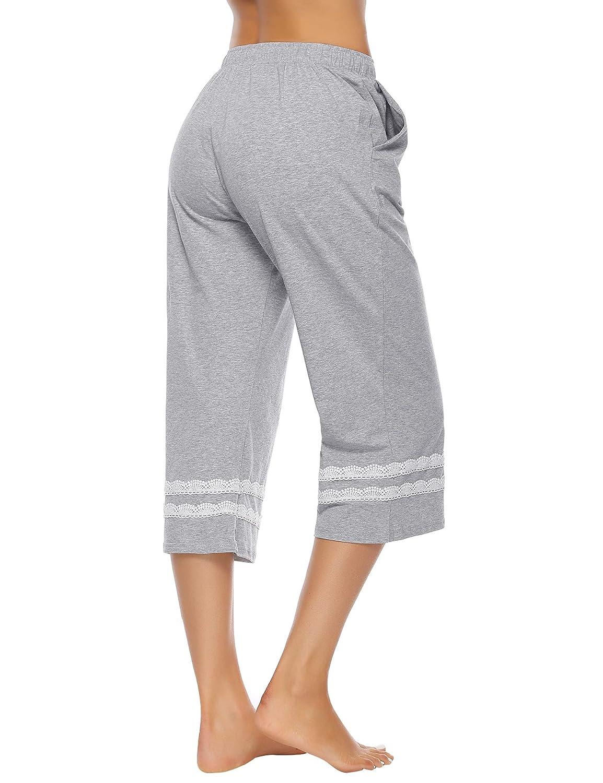 Hawiton Damen Schlafanzughosen Baumwolle Pyjama Bottoms Spitzenrand Weite Hose Loungewear Nachtw/äsche Hosen f/ür Frauen