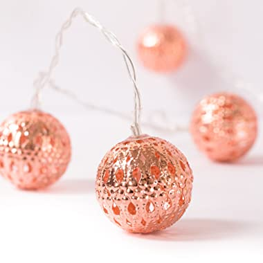 Ling's moment Rose Gold Moroccan Lamp 10 LED Boho Decor Globe String Lights for Indoor, Bedroom, Curtain, Patio, Holiday, Party, Decorations (Warm White)