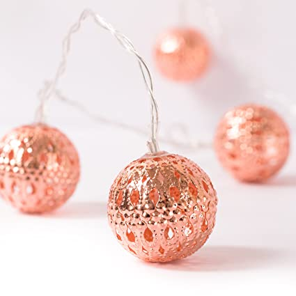 Ling S Moment Rose Gold Moroccan Lamp 10 Led Boho Decor Glod String Lights For Indoor Bedroom Curtain Patio Holiday Party Decorations Christmas
