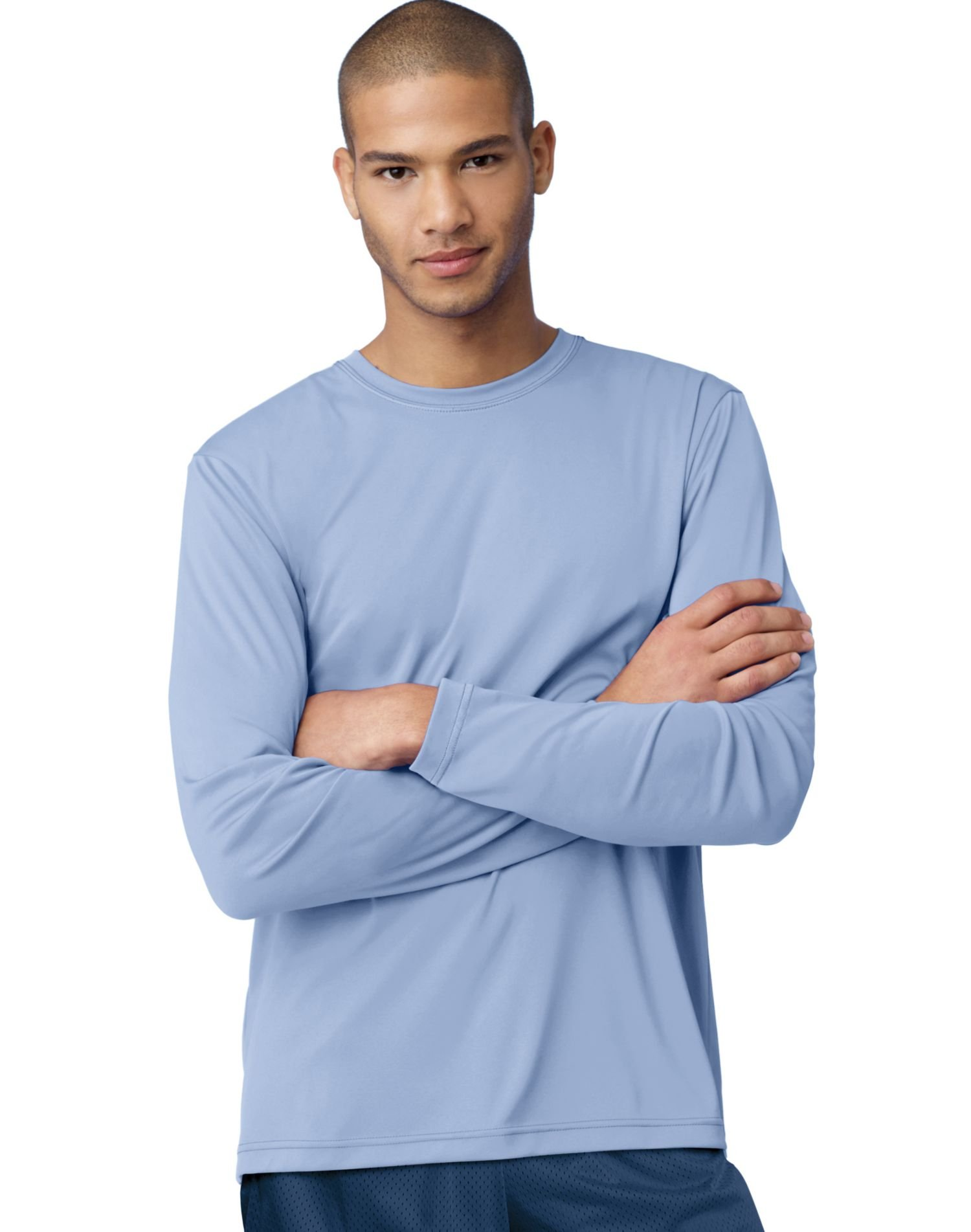 Hanes Adult Cool Dri Long Sleeve Performance Tee, Light Blue, Small by Hanes (Image #1)