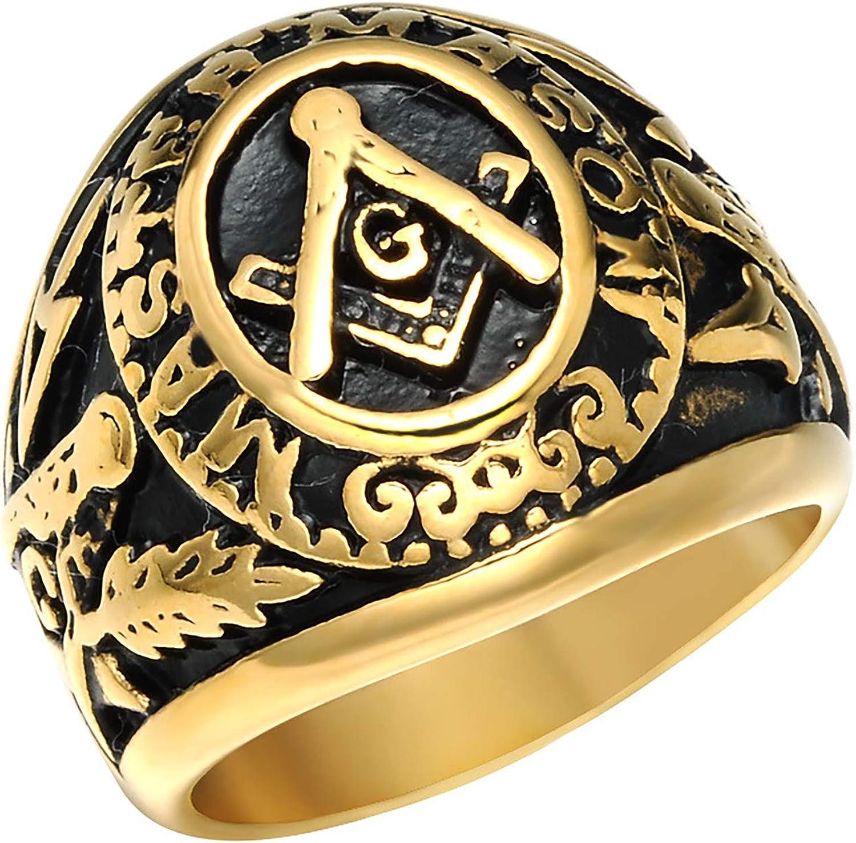 Rinspyre Men's Stainless Steel Master Mason Ring Vintage Freemason Masonic Symbol Biker Band Silver Gold