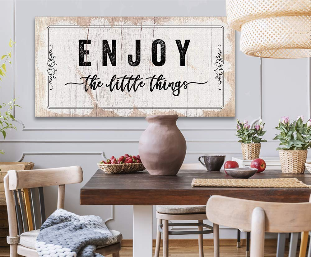 Enjoy The Little Things Large Canvas Housewarming Anniversary and Wedding Gift Under $50 Not Printed on Wood - Stretched on a Heavy Wood Frame Perfect Above a Couch or Dining Room Decor