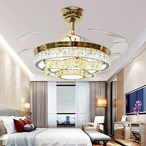 TiptonLight Chandelier Ceiling Fan Lamp Folding Ceiling Fans With Lights Ceiling Fan With Light Dining Room Decorative with Remote Control 42 inch, Gold-02