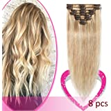 Hair Extensions Clip in Remy Human Hair One-piece 5 Clips Long Straight Hair Extensions Hanger Holder for Women
