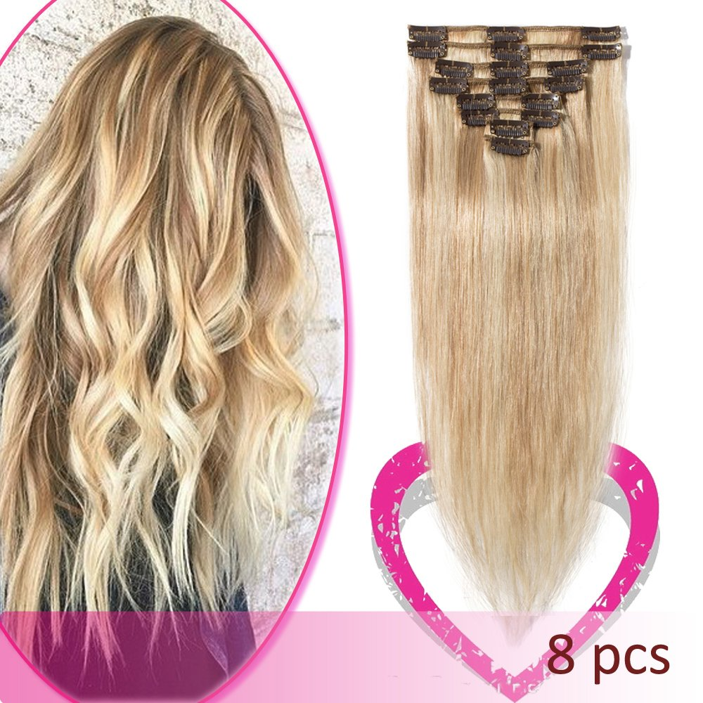 Remy Human Hair Clip in Hair Extensions 22 Inch 80g Standard Weft 8 Pcs 18 Clips Straight Hair for Women Beauty Gift Balayage #18/613 Ash Blonde Mix Bleach Blonde by Hairro