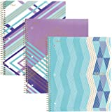 """Five Star Spiral Notebooks, 1 Subject, College Ruled Paper, 100 Sheets, 11"""" x 8-1/2"""", Interrupt Purple, V Purple, ZigZag Purple, 3 Pack (38505)"""