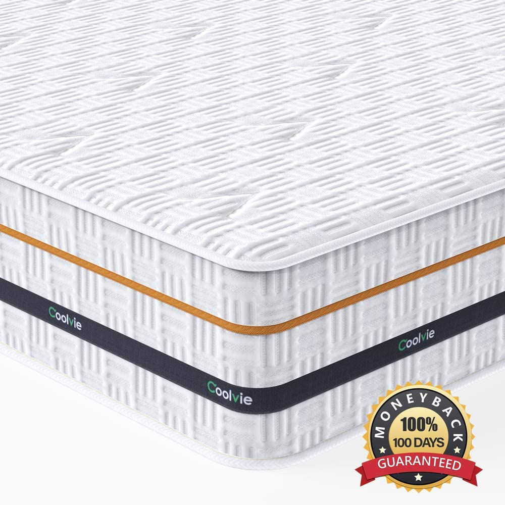 Twin Mattress, Coolvie 11 Inch Memory Foam and Innerspring Hybrid Single Bed Mattress in a Box, Medium Firm Feel, Motion Isolation, Breathable & Pressure Relief, Risk-Free 100 Night Trial