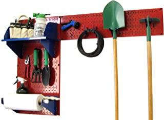 product image for Wall Control Pegboard Garden Supplies Storage and Organization Garden Tool Organizer Kit with Red Pegboard and Blue Accessories