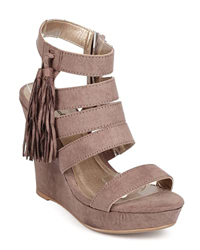 31d52fa30a3 Qupid Women Suede Peep Toe Tassel Caged Wedge Sandal ED40 - Taupe (Size  8.5