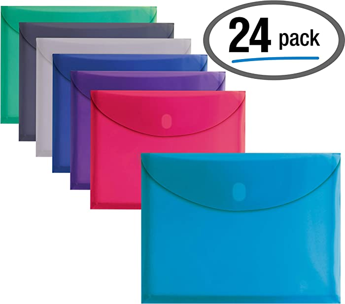 """24 Plastic Envelopes, Reusable Poly Envelopes, Letter Size, Assorted Colors, Transparent, Side Loading, with 1"""" Gusset for Extra Capacity, Hook and Loop Closure, by Better Office Products"""