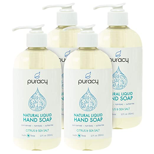 Puracy Natural Liquid Hand Soap, Sulfate-Free Gel Hand Wash, Citrus & Sea Salt, 12 Ounce (4-Pack)