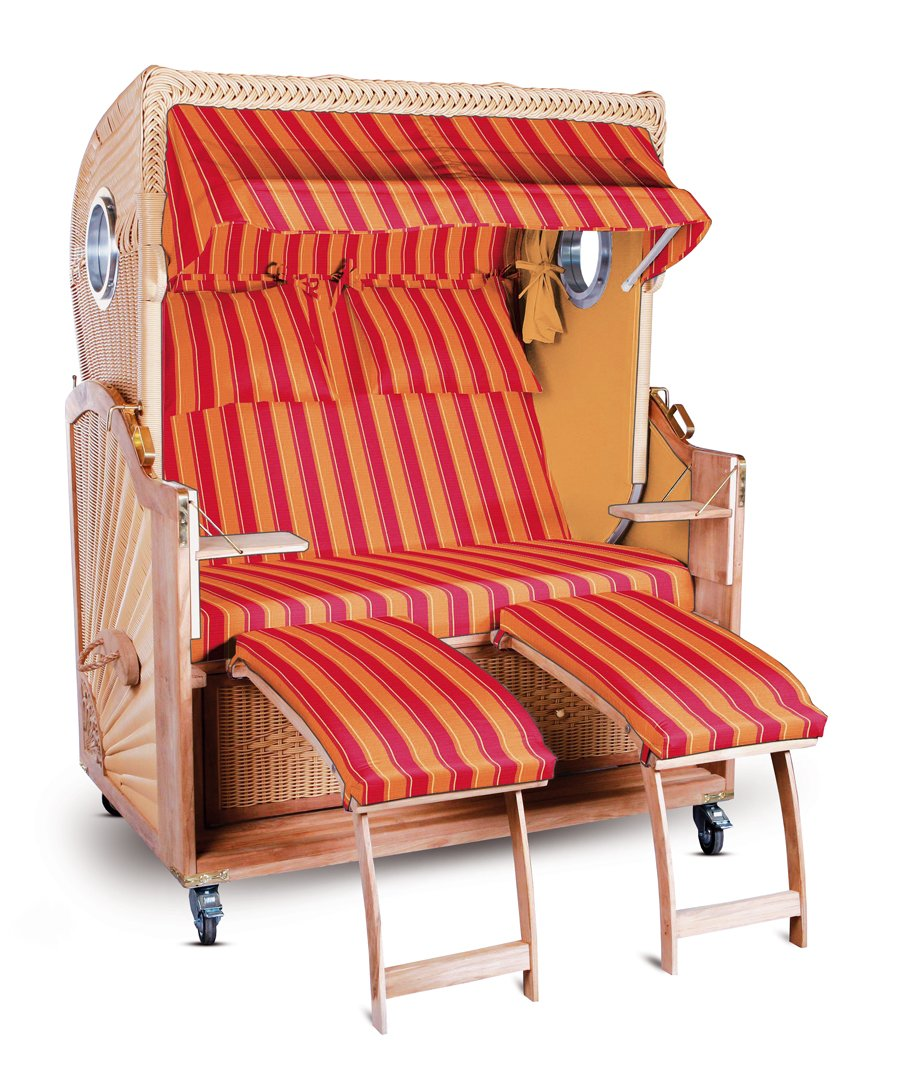 Strandkorb Kampen Spezial Rot Orange gestreift Seiten Orange 2,5-Sitzer Bullauge