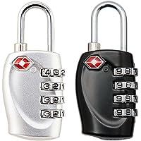 2x TSA güvenlik asma kilit–4-Stelligs Travel Bavul Bagaj çanta güvenlik Code Lock (Siyah + Beyaz)