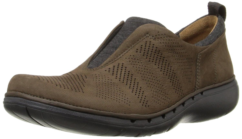 CLARKS Women's Un Spirit Walking Shoe, Light Grey Leather, 7 M US