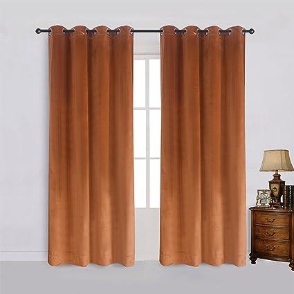 Super Soft Rustic Velvet Pumpkin Orange Blackout Drapes Room Darkening Curtains Panel Grommet Drapery 52 By