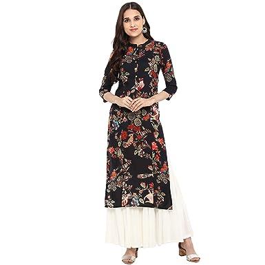 eb93a01c04 Rajwada Creations Designer Black Floral Print Kurta/Kurti: Amazon.in:  Clothing & Accessories
